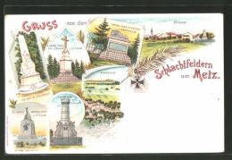 Lithographie Metz, Schlachtfelder Um Die Stadt, St. Privat, Plappeville, Colombey, Amanweiler - Metz