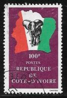 Ivory Coast, Scott # 598 Used Elephant, Flag, Map, 1981 - Ivory Coast (1960-...)