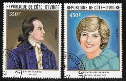 Ivory Coast, Scott # 626-7 Used Goethe, Diana, 1982 - Ivory Coast (1960-...)
