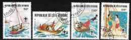 Ivory Coast, Scott # 631-4 Used Scouting, Sailing, 1982 - Ivory Coast (1960-...)