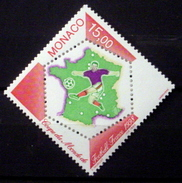 MONACO # 2090.  15fr, 1998 World Cup Soccer Championship With Label. MNH (**) - Monaco