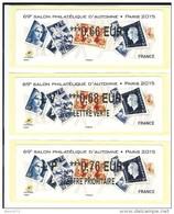 VIGNETTE LISA 2 - LOT DE 3 VALEURS 0.66 0.68 0.76 - 69e SALON PHILATELIQUE D´AUTOMNE - MARIANNES - NEUVES - 2010-... Illustrated Franking Labels