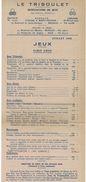 1946 LE TRIBOULET TARIF JEUX MANUFACTURE DE JEUX MONACO & NICE - Publicidad
