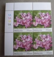 Malaysia Flowers Wmk Upright P14x13.75 Mnh Block 4 50 Sen Sg 1669c - Malaysia (1964-...)