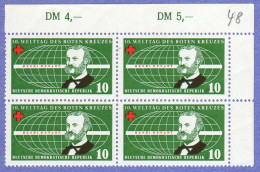 DDR SC #350-1 (SET/2) MNH B4 1957 Red Cross/World Conf., CV $2.00 - [6] Democratic Republic
