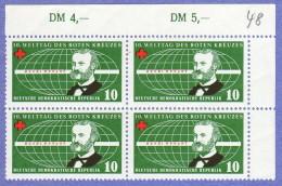 DDR SC #350-1 (SET/2) MNH B4 1957 Red Cross/World Conf., CV $2.00 - Unused Stamps