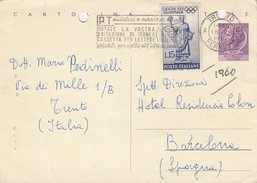 CARTE ITALIE. 15 7 1960. POUR BARCELONA - Italia