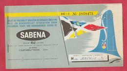 Billet De Passage Et Bulletin De Bagages - SABENA - Bruxelles-Barcelone - 196?  ... Pub Cigarettes Laurens (voir Scans ) - Europe