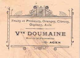 DOUMAINE  Fruits & Primeurs, Oranges, Citrons, Oignons, Aulx  AGEN - Lettres De Change