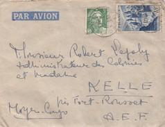 LETTRE AVEC CORRESPONDANCE.  15 7 1948. AURILLAC POUR KELLE MOYEN CONGO RARE DESTINATION. - 1921-1960: Moderne