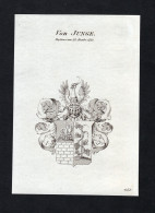 """Von Junge"" - Junge Wappen Adel Coat Of Arms Kupferstich Antique Print Heraldry Heraldik - Estampes & Gravures"