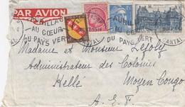 LETTRE AVEC CORRESPONDANCE. 10 OCTOBRE 1947. AURILLAC POUR KELLE MOYEN CONGO RARE DESTINATION - 1921-1960: Moderne