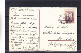 Lituanie - Carte Postale De 1932  - Oblit Kaunas - Exp Vers Bruxelles - Lithuania