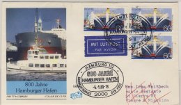 BRD - 800 J. Hamburger Hafen 1989, 3x60 Pfg. A. Schmuck-FDC N. St. Pierre Et - [7] Federal Republic