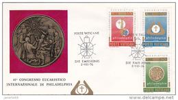 Vatican City 1976 41st Eucharistic Congress In Philadelphia FDC Vaticano - FDC