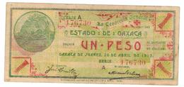 Mexico 1 Peso Revolution, Oaxaca 1915, VF/XF . A Series. - Mexico