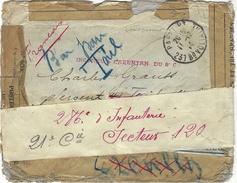 1914- WWI -  Enveloppe De Paris En F M  - 3 Griffes D'INCONNU   Puis Adressée Au Secteur 120 - Postmark Collection (Covers)