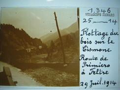 Photo - Stéréo- Flottage De Bois Sur Le Cismone - Route Primiero à Filtre - 1914 -Trentino Alto Adige Vérascope Richard - Plaques De Verre