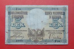 ALBANIA - ITALIA. 5 LEK ND 1939, Serial #  F24 2854, - Albania