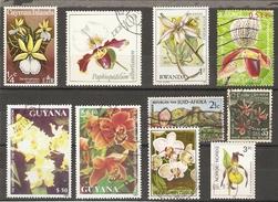 Fleurs - Orchidées - Petit Lot De 10 Timbres - 2 MNH - 8 Oblitérés - Vrac (max 999 Timbres)