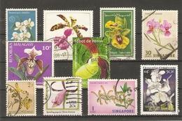 Fleurs - Orchidées - Petit Lot De 10 Timbres Oblitérés - Vrac (max 999 Timbres)