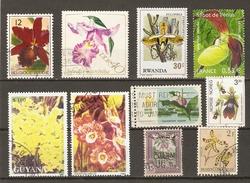 Fleurs - Orchidées - Petit Lot De 10 Timbres - 1 MNH - 9 Oblitérés - Vrac (max 999 Timbres)