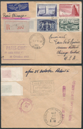 A909 France  Lettre Recommandée De Saint André Les Vergers à Chicago ( USA ) 1953 - Premier Vol - France