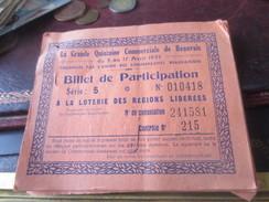 """CARNET DE """"BILLETS DE PARTICIPATION A LA LOTERIE DES REGIONS LIBEREES"""" - BEAUVAIS 1937-   -  VOIR PHOTOS - Lottery Tickets"""