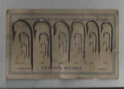 37 - AMBOISE - PEZON & MICHEL , MANUFACTURE D'ARTICLES DE PECHE - PRESENTOIR CARTON DES HAMEÇONS PROPOSÉS - Amboise