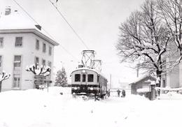 ABDe 4/4 2 Et Chasse-neige à Aigle - Marché Lors Des Chutes De Neige Exceptionnelles Du 17.2.1985 ASD BVA - Stations - Met Treinen