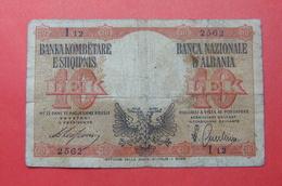 ALBANIA - ITALIA. 10 LEK ND 1939, Serial #  I12 2562, - Albania