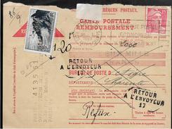 AIGRE Charente Sur Carte Postale REMBOURSEMENT Cachet RETOUR A L'ENVOYEUR N° 17     ....  ..G - Marcophilie (Lettres)
