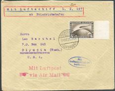 PA N°37 Bdf, Obl. Dc FRIEDRICHSHAFEN (LUFTPOST) S/Lettre Du 10/10/1928 Vers Olympia (USA) Via Sc (verso) New York + Oval - Luftpost