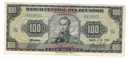 Ecuador 100 Sucres 1965,  Crisp VF. With Dot In Date.  RARE!!! - Ecuador
