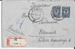 1911 - POLOGNE ADM RUSSE - LETTRE De LODZ Avec ETIQUETTE RECOMMADEE LETTRE LATINE Sur CYRILLIQUE => CHEMNITZ (ALLEMAGNE) - ....-1919 Übergangsregierung