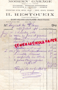 87 - SAINT HILAIRE LES PLACES- FACTURE MODERN GARAGE- H. RESTOUEIX - MACHINE A COUDRE ARMES- 1931 - Cars