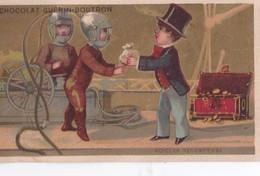 """Chromo 1900 Chocolat Guérin Boutron : Scaphandres """"voici La Récompense""""( Scaphandriers) - Guérin-Boutron"""