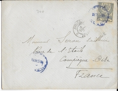 1891 - TURQUIE - ENVELOPPE Avec OBLITERATION BLEUE => COMPIEGNE - 1858-1921 Empire Ottoman