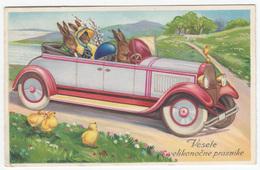 Rabbits In A Car Easter Greeting Card Postcard Travelled 1946 Ljubljana Pmk B170602 - Easter