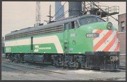Burlington Northern Hockey Stick E-Unit, Chicago, Illinois IL, USA - Railcards Postcard - Trains