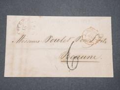 """FRANCE - Cachet D 'entrée """" Pays Bas Par Valenciennes """" En Rouge En 1859 Sur Lettre De Rotterdam Pour Beaune - L 8159 - Poststempel (Briefe)"""