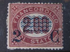 """ITALIA Regno-1878- """"Ondine"""" C. 2 Su 2,00 MH* DIF. (descrizione) - 1861-78 Victor Emmanuel II."""