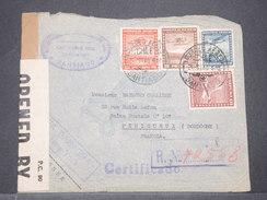 CHILI - Enveloppe En Recommandé Pour La France En 1940 Par Avion , Contrôle Postal , Affranchissement Plaisant - L 8171 - Chile