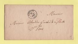 Narbonne - 10 - Aude - 27 Janv 1843 - Faire Part De Mariage Famille Nombel - Marcofilie (Brieven)