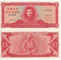 "CUBA  3  Pesos   ""Che Guevara""    P107b    1988    UNC - Cuba"
