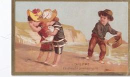 Vers 1900 DIEPPE / LA DOUCHE / CHOCOLAT DEROSSY FABRIQUE DE CHOCOLATS A PARIS - Trade Cards