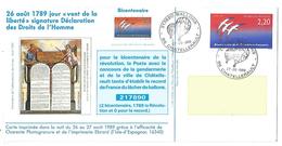 OBLITERATION BICENTENAIRE REVOLUTION 217890 BALLONS à CHATELLERAULT 1989 - Commemorative Postmarks