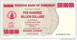 ZIMBABWE 500 MILLION DOLLARS 2008 P-60a UNC  [ZW151a] - Simbabwe