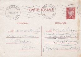 CARTE. 27 3 1942. ENTIER 1.2O PETAIN. PONTOISE POUR PERPIGNAN - Unclassified