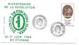 OBLITERATION BICENTENAIRE REVOLUTION SAINT ETIENNE LOIRE 1989 - French Revolution